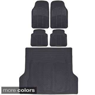 BDK All Weather Universal Fit/ Trimmable Car Rubber Floor Mats and Cargo Mat (5 Pieces)