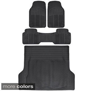 BDK Heavy Duty Universal Fit Car Floor Mats and Cargo Liner (4 Pieces)