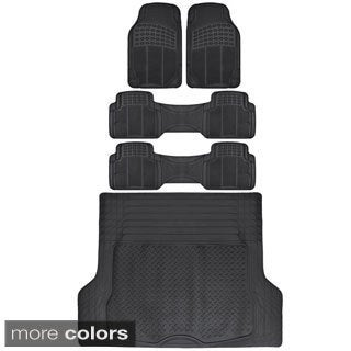 BDK 3 Row Heavy Duty Trimmable Car Floor Mats for SUV/ Van with Cargo Liner (5 Pieces)