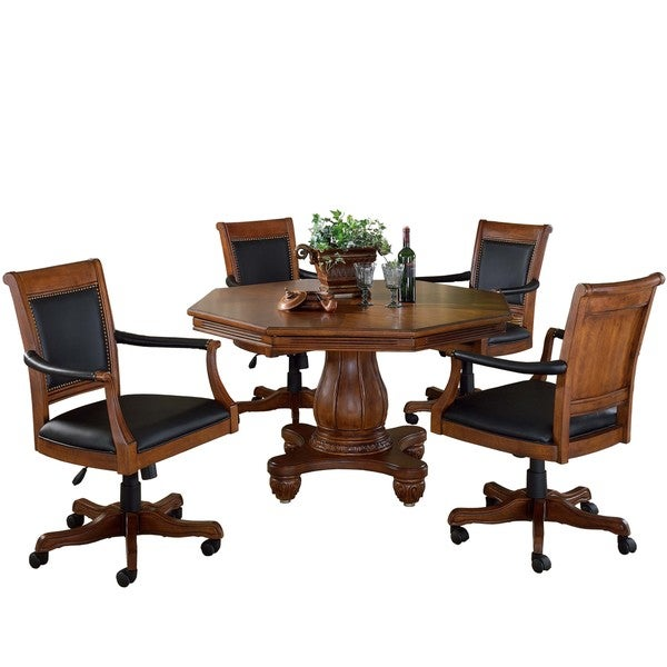 Hillsdale Kingston 5-Piece Game Set with Leather Back Game Chair