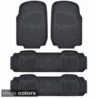 BDK USA Ridged Heavy Duty Rubber 3-row Car Mat for Van/ SUV (4 Pieces)