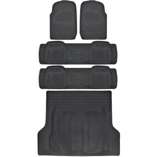 BDK Ridged Heavy Duty Floor Mats and Cargo Liner for Van/ SUV Car (5 Pieces)