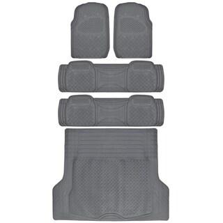 BDK Ridged Heavy Duty Floor Mats and Cargo Liner for Van/ SUV Car (5 Pieces)