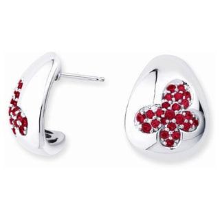Lotopia 925 Sterling Silver Swarovski Zirconia Red Butterfly Earrings