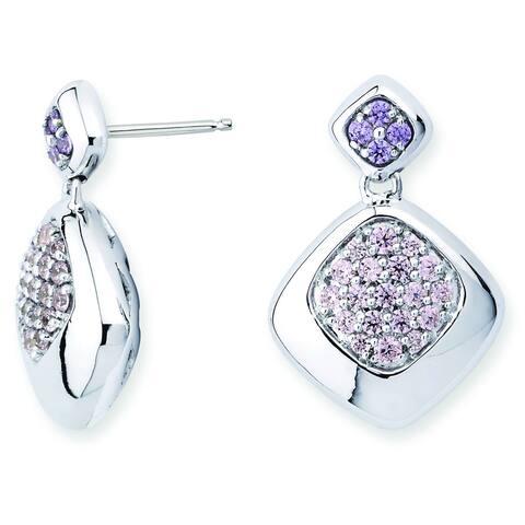 Lotopia 925 Sterling Silver Pink & Purple Swarovski Zirconia Love Cushion Earrings