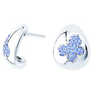 Lotopia 925 Sterling Silver Blue Swarovski Zirconia Butterfly Earrings