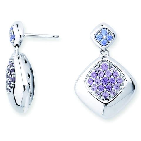 Lotopia 925 Sterling Silver Purple Swarovski Zirconia Love Cushion Earrings