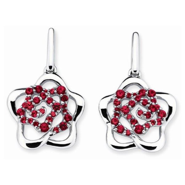 f44db7299 Shop Lotopia 925 Sterling Silver Red Swarovski elements Zirconia Love  Flower Earrings - On Sale - Free Shipping Today - Overstock - 10050275