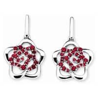 Lotopia 925 Sterling Silver Red Swarovski elements Zirconia Love Flower Earrings