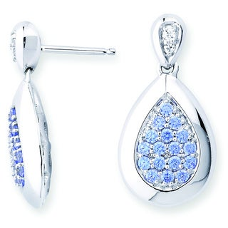 Lotopia 925 Sterling Silver Ocean Blue Swarovski Zirconia Love Teardrop Earrings