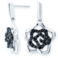 Lotopia 925 Sterling Silver Black Swarovski elements Zirconia Love Flower Earrings