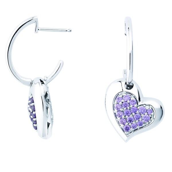 ef28db79d Shop Lotopia 925 Sterling Silver Purple Swarovski elements Zirconia Love  Heart Earrings - On Sale - Free Shipping Today - Overstock.com - 10050287
