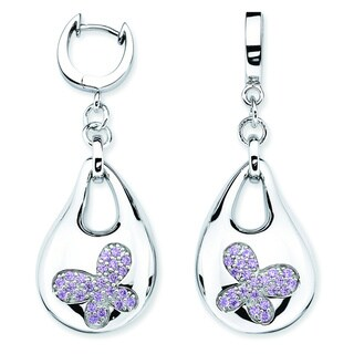 Lotopia 925 Sterling Silver Purple Swarovski Zirconia Bold Butterfly Earrings