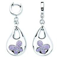 16b3a1588 Lotopia 925 Sterling Silver Purple Swarovski elements Zirconia Bold  Butterfly Earrings