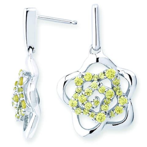 Lotopia 925 Sterling Silver Golden Yellow Swarovski Zirconia Love Flower Earrings