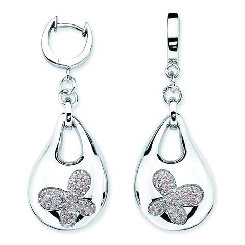 Lotopia 925 Sterling Silver Pink Swarovski Zirconia Bold Butterfly Earrings