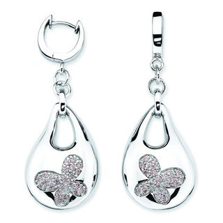 Lotopia 925 Sterling Silver Pink Swarovski Zirconia Bold Butterfly Earrings