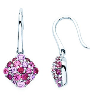 Lotopia 925 Sterling Silver Pink Swarovski elements Zirconia Drop Earrings