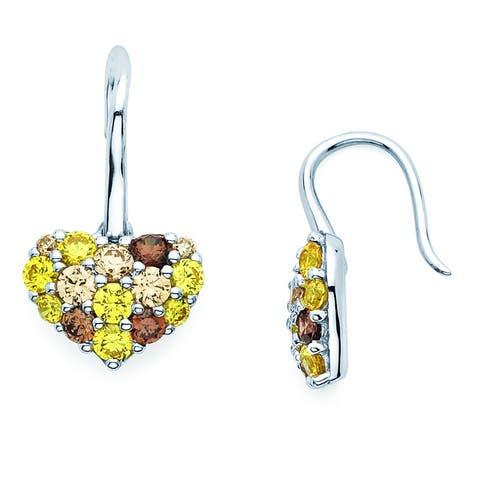Lotopia 925 Sterling Silver Golden Yellow Swarovski Zirconia Heart Drop Earrings