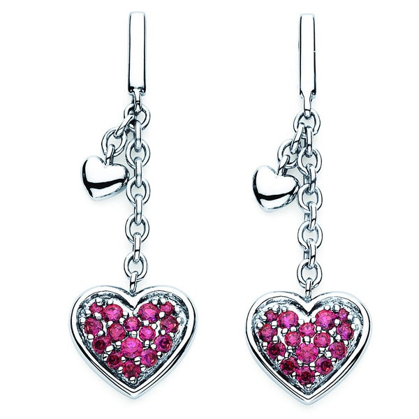 b8403948e Lotopia 925 Sterling Silver Swarovski Red Zirconia Dangle Heart Earrings