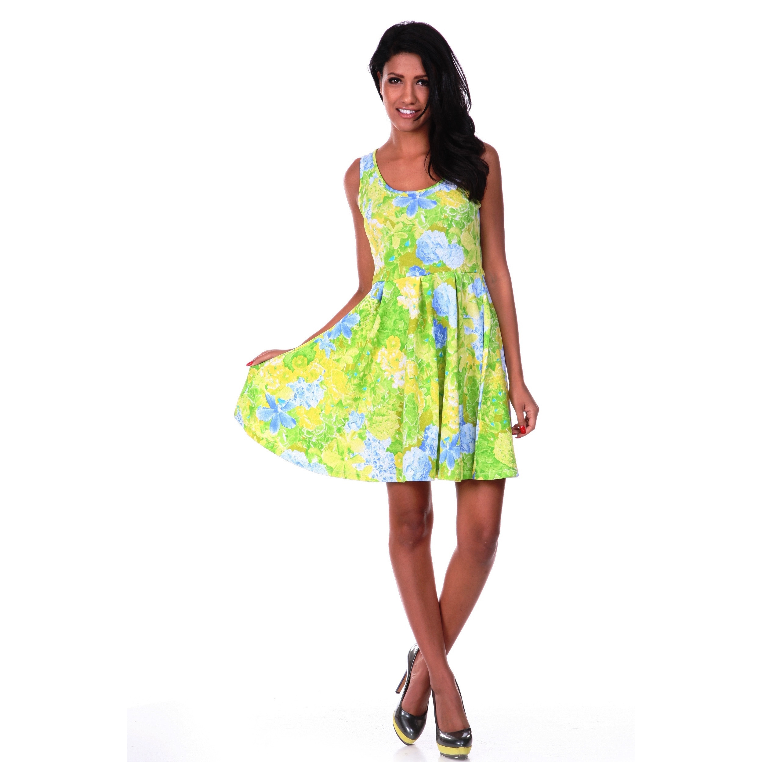 1301811ba7b5 White Mark Women s Fit-and-Flare Floral Skater Dress