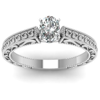 14k White Gold 1/2 ct. TDW Oval Diamond Solitaire Double Milgrain Engagement Ring by Fascinating Diamonds (E-F, SI1-SI2)