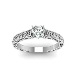 14k White Gold 1/2ct.CTtw Heart-shaped Diamond Solitare Filigree Engagement Ring by Fascinating Diamonds (E-F, SI1-SI-2, GIA)