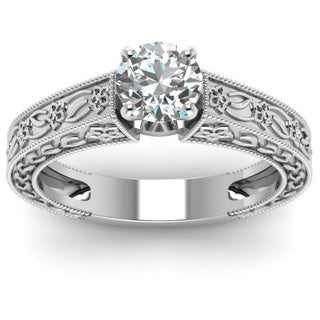 Fascinating Diamonds 14K White Gold 1/2ct. TDW Round-cut Diamond Solitaire Heirloom Style Engagement Ring