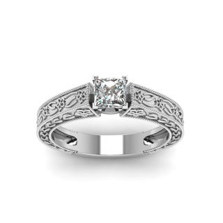 Fascinating Diamonds 14K White Gold 1/2ct. TDW Princess-cut Diamond Solitaire Engagement Ring