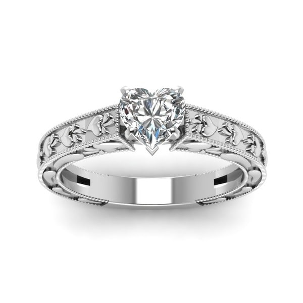 Fascinating Diamonds 14k White Gold GIA certified 1/2 ct. Heart Diamond Solitaire Ring