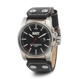 Wrist Armor Men's WA417 U.S. Navy C1 Black Leather Strap Watch