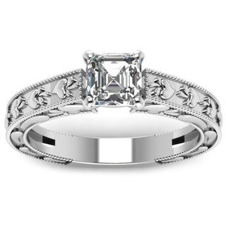 14k White Gold 1/2ct. TDW Asscher-cut Diamond Milgrain Legacy Style Engagement Ring by Fascinating Diamonds (E-F, VVS1-VVS2)