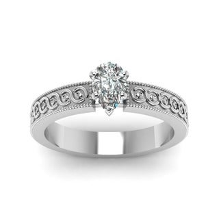 14k Gold 1/2ct. Pear-shaped Diamond Solitaire Filigree-band Engagement Ring by Fascinating Diamonds (F-G, VVS1-VVS2, GIA)