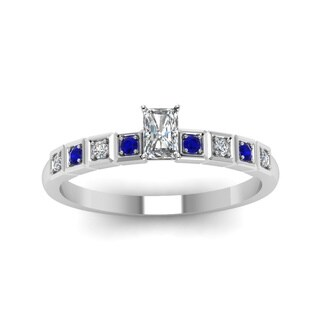 14k White Gold Radiant-cut 1/2CTtw Diamond and Blue Sapphire Engagement Ring by