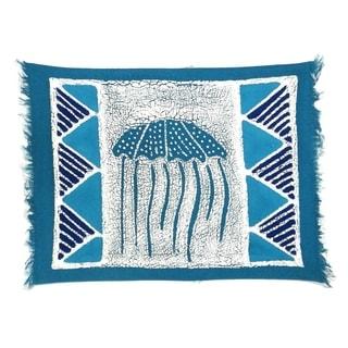 Handmade Blue Jellyfish Batiked Placemat (Zimbabwe)