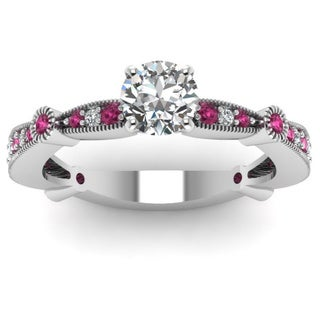14k White Gold 3/4ct TDW Round-cut Diamond and Pink Sapphire Band Engagement Ring by Fascinating Diamonds (F-G, I1-I2)