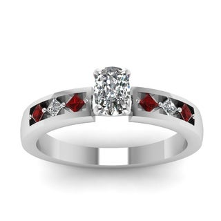 14k White Gold Cushion-cut 5/8CTtw Diamond and Ruby Engagement Ring by Fascinating Diamonds (F-G, VS1-VS2)