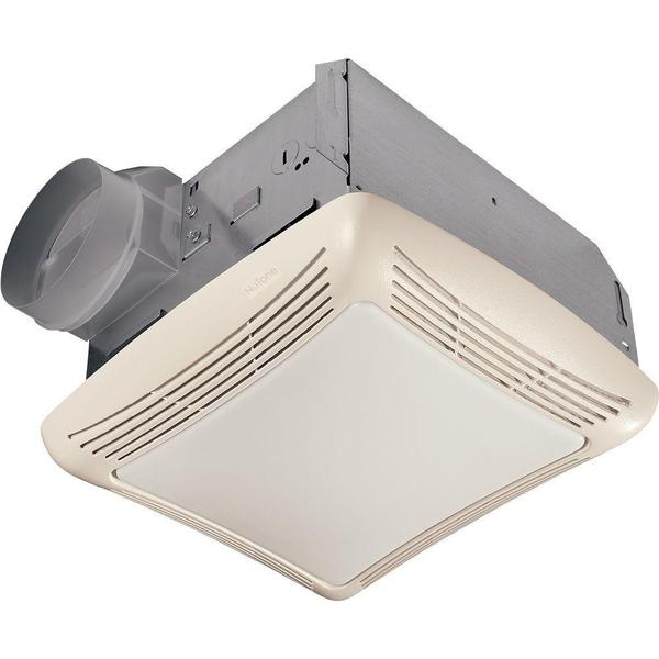 70 cfm ceiling exhaust fan with light white grille and
