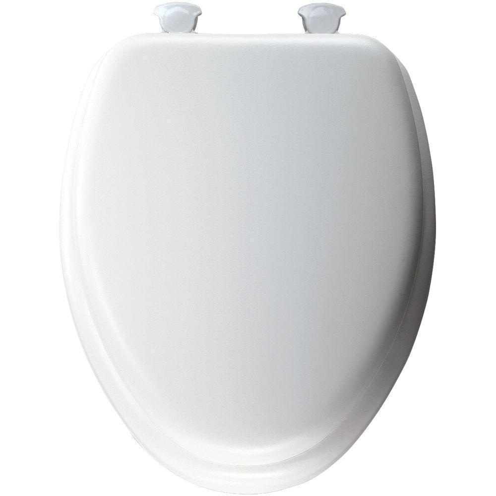 Bemis Products White Elongated Closed Front Padded Toilet...