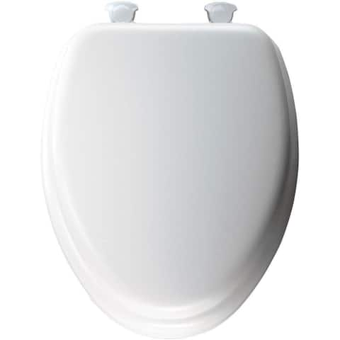 White Elongated Closed Front Padded Toilet Seat