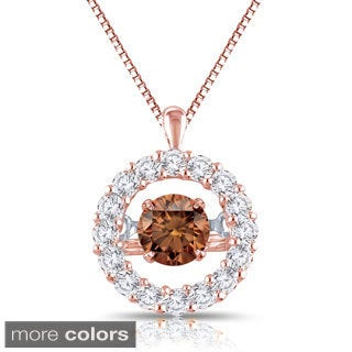 Auriya 14k Rose Gold 1ct TDW Diamond Halo 'Dancing Diamond' Necklace (H-I, I1-I2)