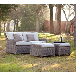 Harper Blvd Imperial Outdoor 2. 5 Seater Sofa and Ottoman 3pc Set - Beige Brown Grey Khaki