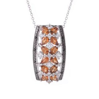 "Sterling Silver Exotic & Multi Gemstone Pendant w/ 18"" Chain (Option: Spessartite/Spinel/Topaz - White/Orange/Black - December)"