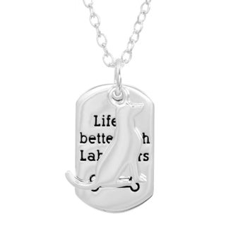 Silverplated 'Life Is Better' Labrador Necklace