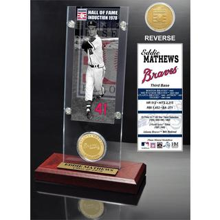 Eddie Mathews 'Hall of Fame' Ticket and Bronze Coin Acrylic Desk Top