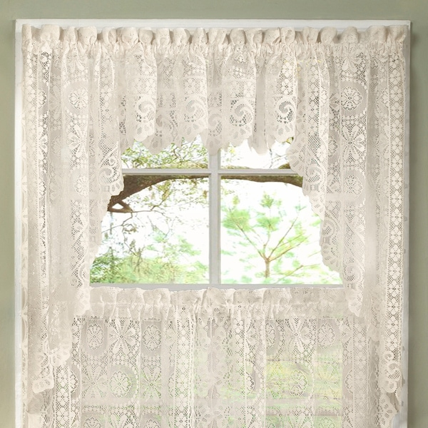 Luxurious Old World Style Lace Kitchen Curtains  Tiers And Valances In  Cream   Free Shipping On Orders Over $45   Overstock.com   17195248