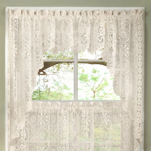 Luxurious Old World Style Lace Kitchen Curtains Tiers And Valances In Cream Overstock 10050988