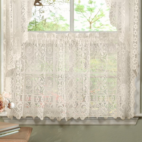 Shop Luxurious Old World Style Lace Kitchen Curtains- Tiers ...