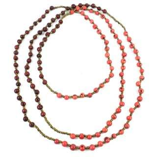 Faire Collection Colorblock Rope Necklace in Burgundy and Coral (Ecuador)