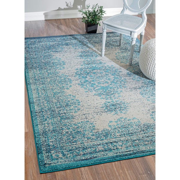 Nuloom Transitional Vintage Abstract Blue Rug 7 10 X 11